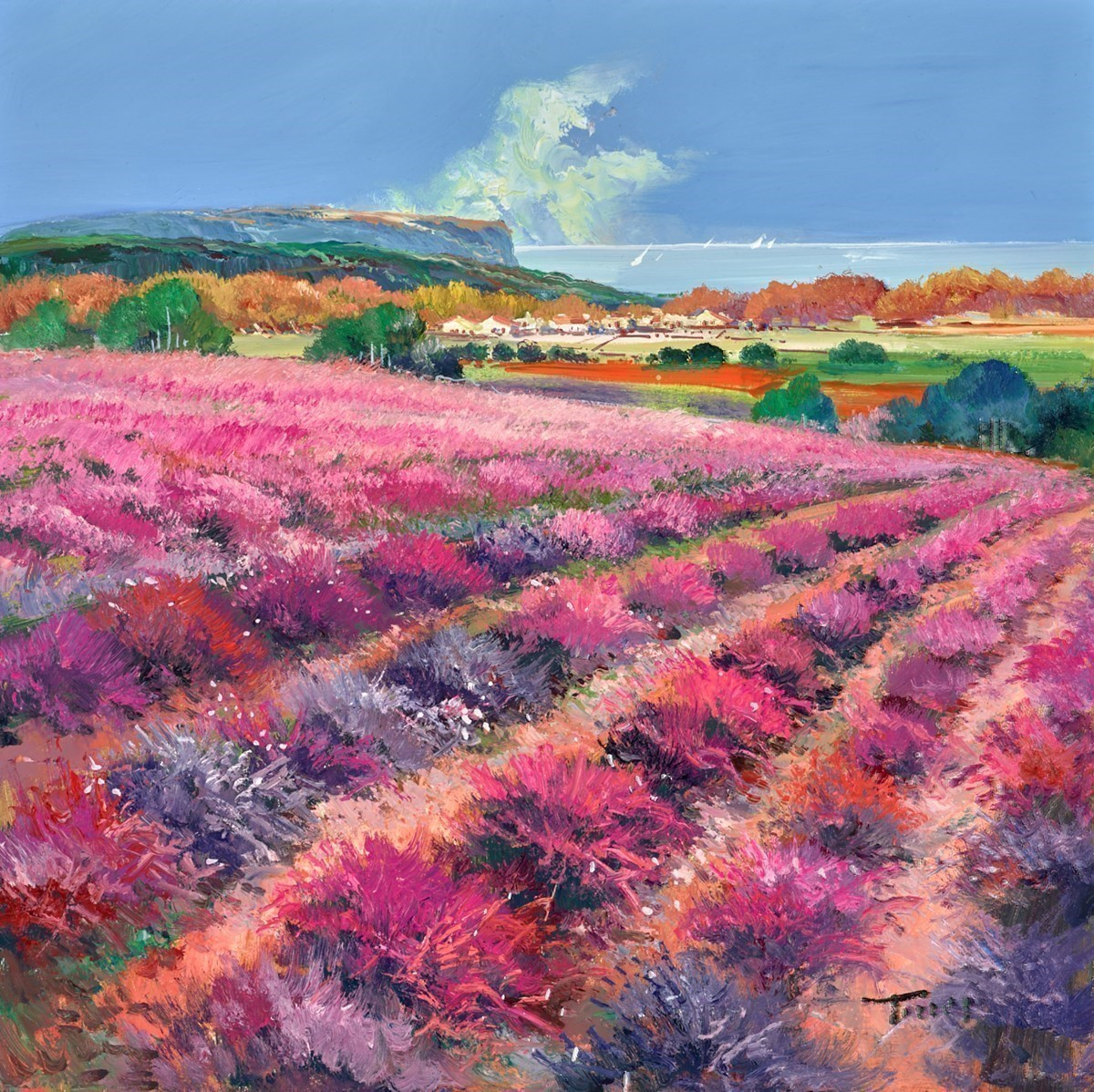 Pink Fields IV by Torres -  sized 24x24 inches. Available from Whitewall Galleries